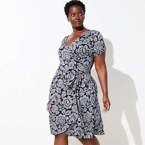 LOFT Floral Short Sleeve Wrap Dress